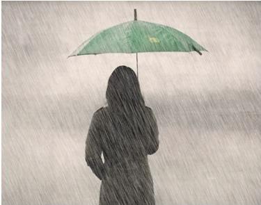 sendiri dalam hujan